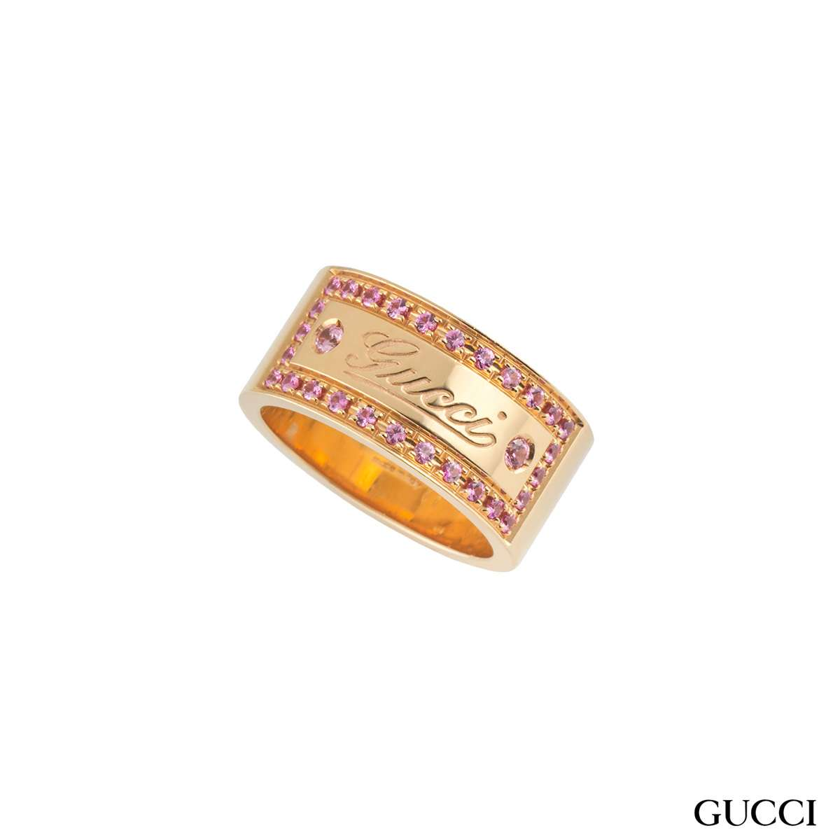 Gucci Rose Gold Pink Spinel Band Ring